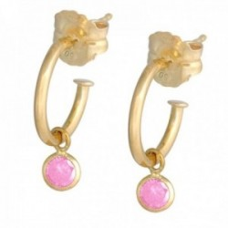 Pendientes oro 18k colección Sena aros abiertos 8mm. circonita rosa 4mm. colgando cierre presión