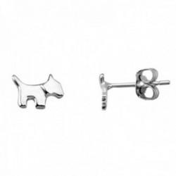Pendientes mini plata Ley 925m par perro 5mm. rodiado mujer cierre presión