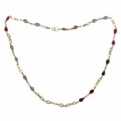 Gargantilla oro 18k tuti frutti 48cm. piedras colores forma lágrima eslabones motivo cierre reasa