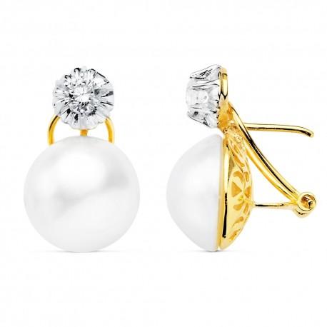 Pendientes oro blanco 18k perla japonesa 14mm. garra [AA0664]