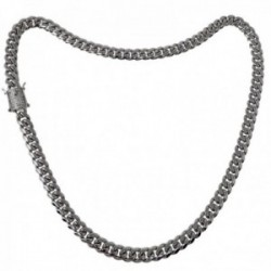 Cadena acero inoxidable chapado rodio 50cm. ancho 8mm. barbada cierre circonitas doble seguridad