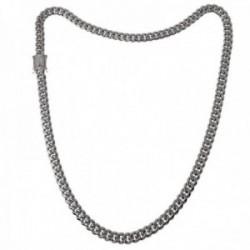 Cadena acero inoxidable chapado rodio 60cm. ancho 8mm. barbada cierre circonitas doble seguridad