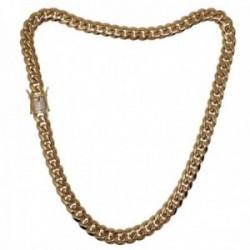 Cadena acero inoxidable chapado oro 18k 50cm. ancho 10mm. barbada cierre circonitas doble seguridad