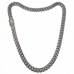 Cadena acero inoxidable chapado rodio 60cm. ancho 12mm. barbada cierre circonitas doble seguridad