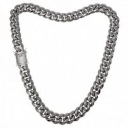Cadena acero inoxidable chapado rodio 50cm. ancho 14mm. barbada cierre circonitas doble seguridad