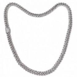 Cadena aleación 50% plata Ley 925m 50% latón rodiada 60cm. circonitas ancho 10mm. cierre oculto