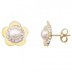 Pendientes oro 9k flor centro perla y cristal en resina [6266]