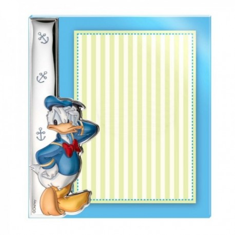 Marco portafotos sin borde metacrilato plata Ley 925m bilaminada Disney foto 15x20cm. Pato Donald