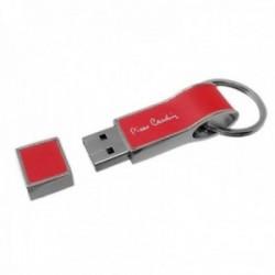 Pen Drive 16GB Pierre Cardin memoria flash USB 2.0 llavero rojo imitación cuero