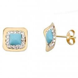 Pendientes oro 9k cuadrado centro turquesa y cristal en resina [6270]