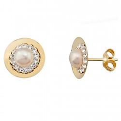 Pendientes oro 9k redondo centro perla y cristal en resina [6274]