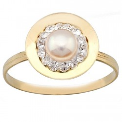 Sortija oro 9k redondo centro perla y cristal en resina [6276]
