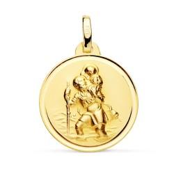 Medalla oro 18k San Cristobal 18mm. bisel [7572]