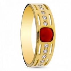 Sortija oro 18k mujer centro coral fino 4mm. circonitas lateral detalles calados