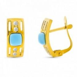 Pendientes oro 18k turquesa fina 4mm. circonitas detalles calados cierre catalán