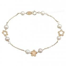 Pulsera oro 9k flor cadena perla cultivada 4,5  [6291]