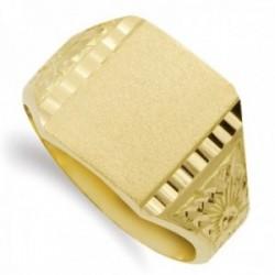 Sello oro 18k hombre detalle formas lateral borde tallado