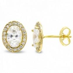 Pendientes oro 18k mujer 10mm. centro piedra oval cerco circonitas cierre presión