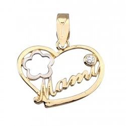Colgante oro bicolor 9k corazón mami circonita [6294]