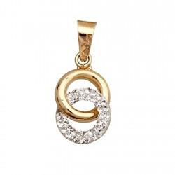Colgante oro 9k circulos entrelazados liso y piedras en resina [6299]