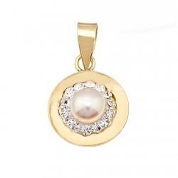 Colgante oro 9k redondo centro perla y cristal en resina [6303]