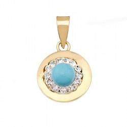 Colgante oro 9k redondo centro turquesa y cristal en resina [6304]