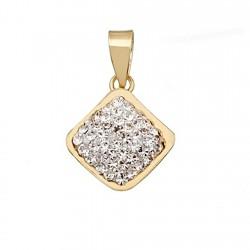 Colgante oro 9k cuadrado cristal en resina [6306]