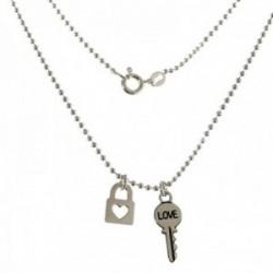 Gargantilla plata Ley 925m motivos candado llave cadena 40cm. bolas