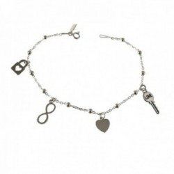 Pulsera plata Ley 925m cadena combianda 19cm. bolas motivos llave corazón candado infinito
