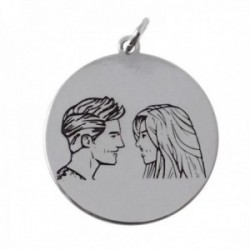 Colgante plata Ley 925m medalla amor enamorados chapa lisa pareja trasera mensaje
