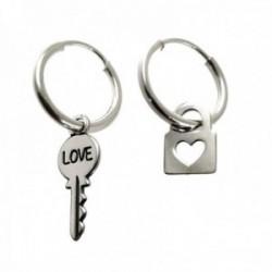Pendientes plata Ley 925m aro 14mm. llave palabra LOVE candado corazón calado colgando