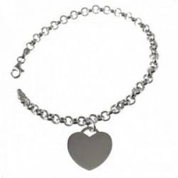 Pulsera plata Ley 925m cadena rolo 19cm. motivo corazón colgando liso cierre mosquetón