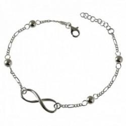 Pulsera plata Ley 925m cadena 17.5cm. alternada 3x1 bolas motivo infinito liso cierre mosquetón