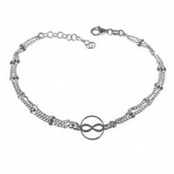 Pulsera plata Ley 925m infinito doble cadena 17cm. detalle entrepiezas talladas cierre mosquetón