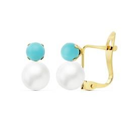 Pendientes oro 18k perlas sintéticas 6mm. bola azul 4mm. cierre catalán mujer