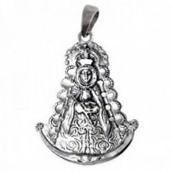 Colgante plata Ley 925m imagen Virgen del Rocío 38mm. maciza silueta detalles tallados trasera manto
