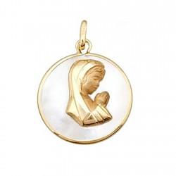 Colgante oro 18k Virgen Niña en nácar redonda [6312]