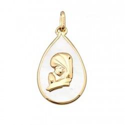 Colgante oro 18k Virgen Niña sobre nácar forma lágrima [6313]