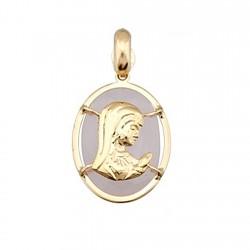 Colgante oro 18k Virgen Niña sobre piedra oval 14x10 rosa [6316]