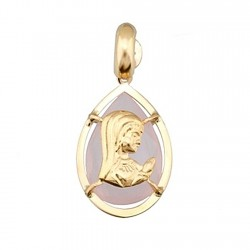 Colgante oro 18k Virgen Niña sobre piedra oval 12x8 rosa [6318]