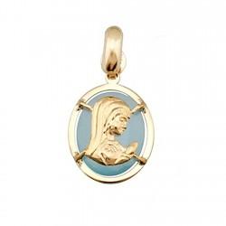 Colgante oro 18k Virgen Niña sobre piedra oval 10x8 azul [6321]