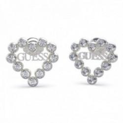 Pendientes Guess Heart Romance UBE70170 acero inoxidable rodiado Swarovski corazón logo