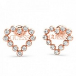 Pendientes Guess Heart Romance UBE70172 acero inoxidable chapado oro rosa Swarovski corazón logo