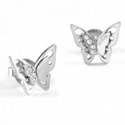 Pendientes Guess Fly Away UBE70184 acero inoxidable rodiado Swarovski mariposa alas desplegadas