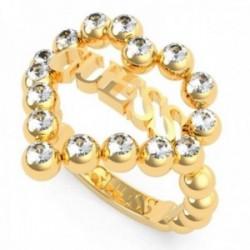 Sortija Guess Heart Romance UBR70026 acero inoxidable chapado oro Swarovski corazón logo