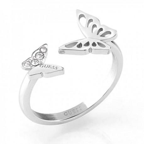Sortija Guess Fly Away UBR70033 acero inoxidable rodiado Swarovski abierta mariposas
