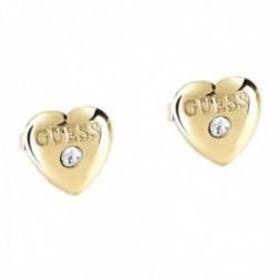 Pendientes Guess Varis UBE28114 acero inoxidable chapado oro Swarovski corazón logo
