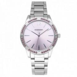 Reloj Radiant mujer RA566202 Shinny Pastels plateado bisel piedras rosas