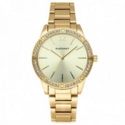 Reloj Radiant mujer RA566204 Shinny Pastels dorado bisel piedras blancas