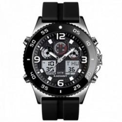 Reloj Radiant hombre RA572601 Storm analógico digital multifunción silicona detalles plateados